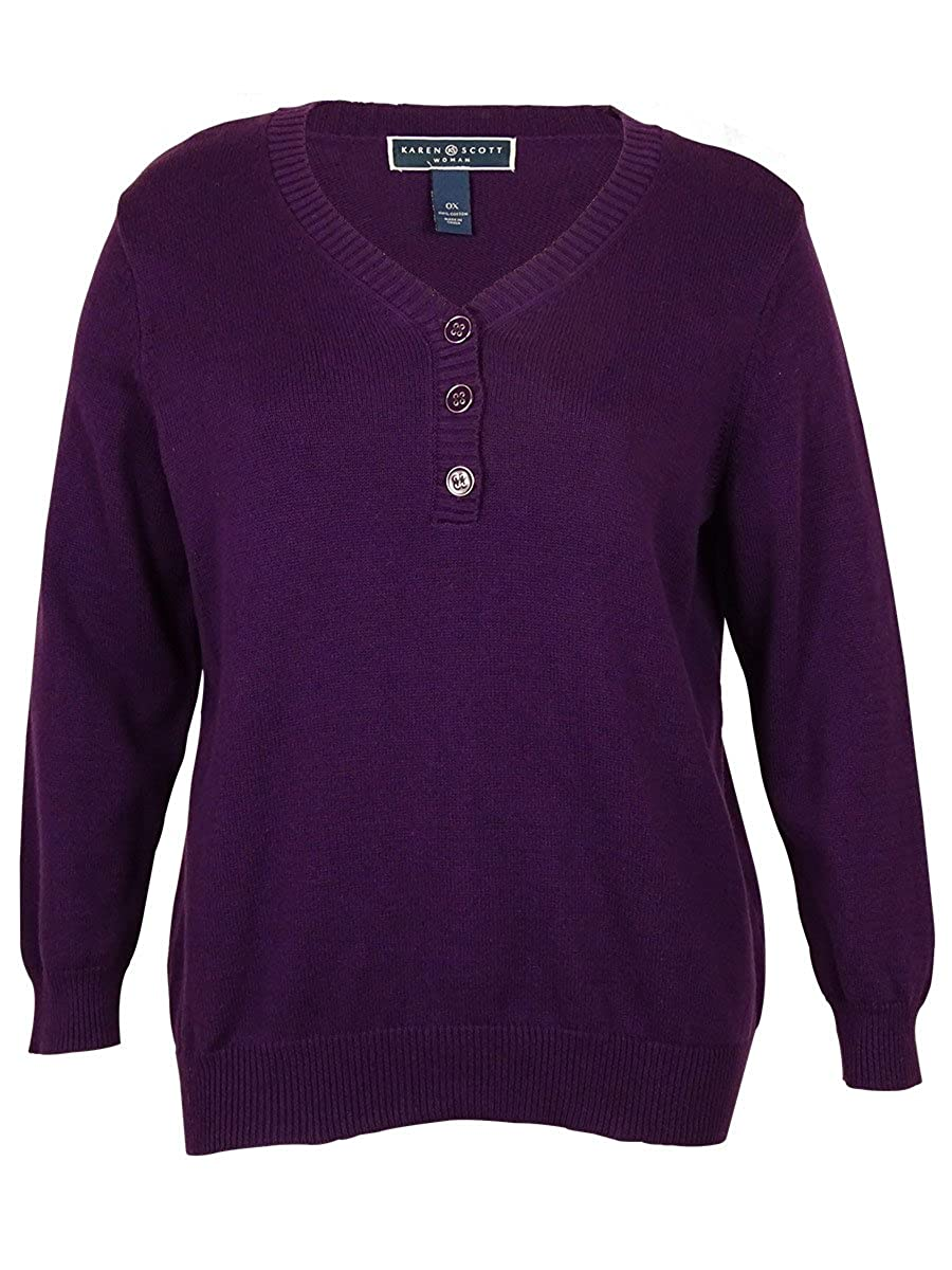 Karen Scott Plus Size Long Sleeve Henley Sweater 0x 2x 90188sg249