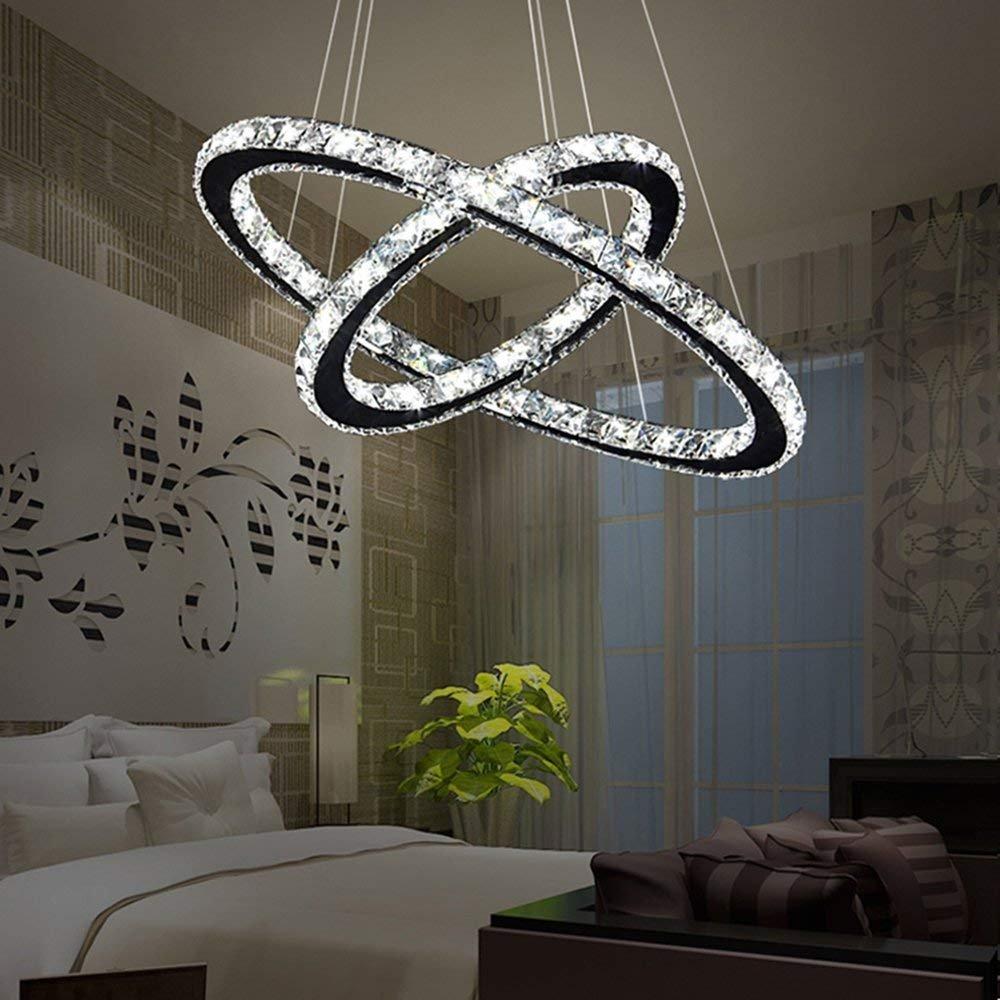 48W LED Kristall Design Design Design Hängelampe Deckenlampe Pendelleuchte Kreative Kronleuchter Zwei Ringe Dimmbar Lüster (48W Dimmbar) de5c35