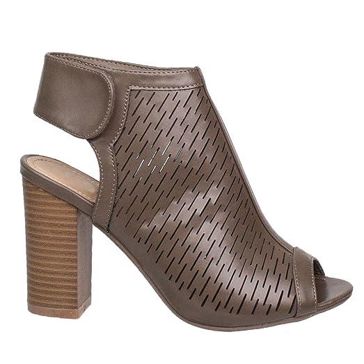8ea049856d3 Women s Peep Toe Cutout Chunky Block Heel Ankle Bootie Sandal ...