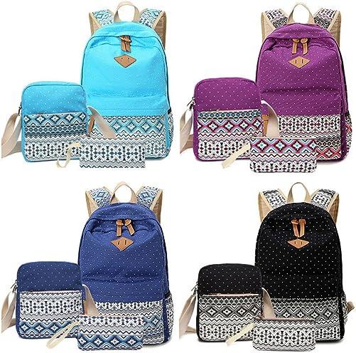 Moore Canvas Tribal Stripes Travel Daypack Polka Dot Campus Backpack 3 Pcs Set Purple