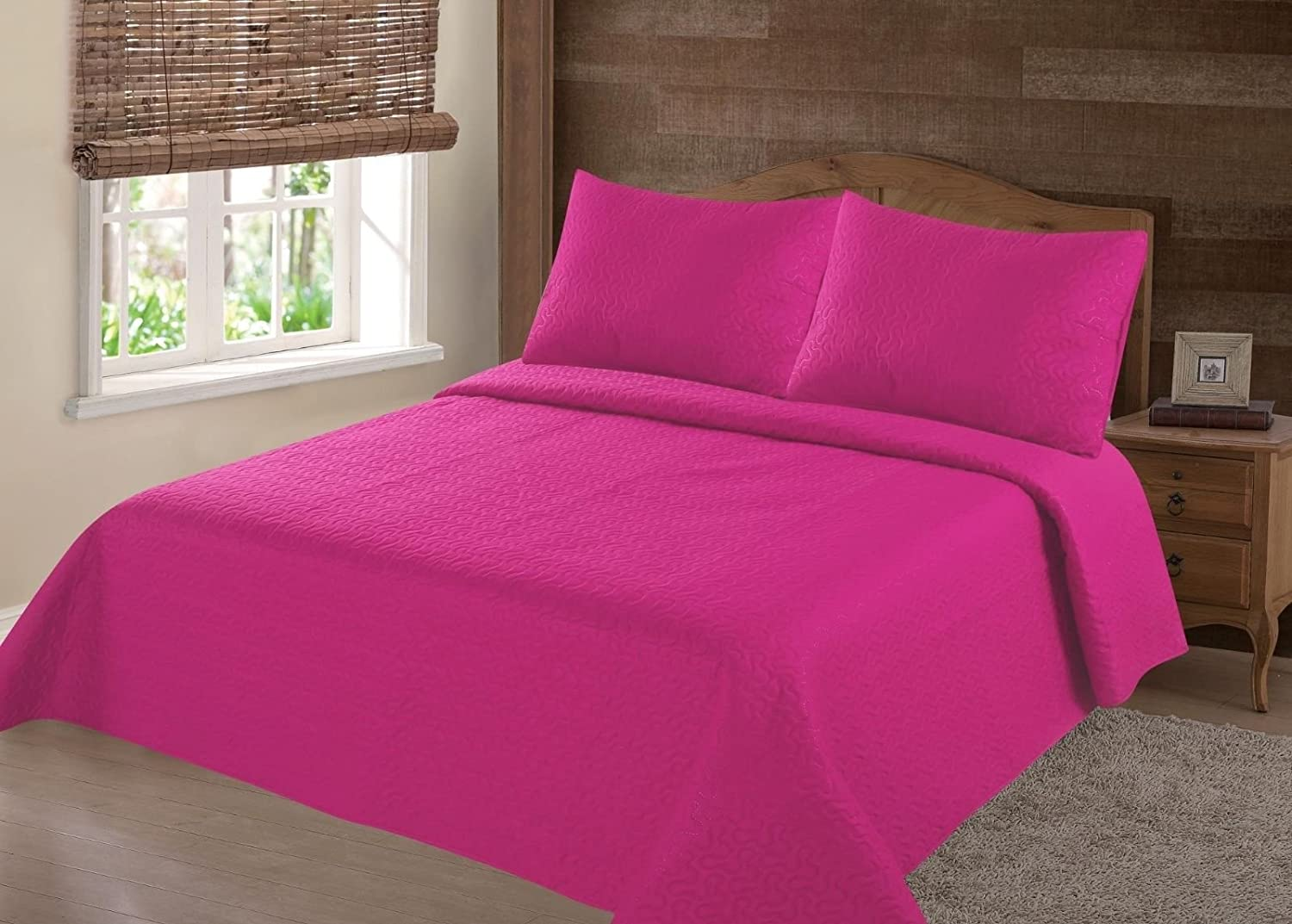 GorgeousHomeLinen (NENA) 2/3-Piece Hot Pink Solid Hypoallergenic Quilt Bedspread Bed Bedding Coverlets Cover Set with Pillow Cases (Queen)