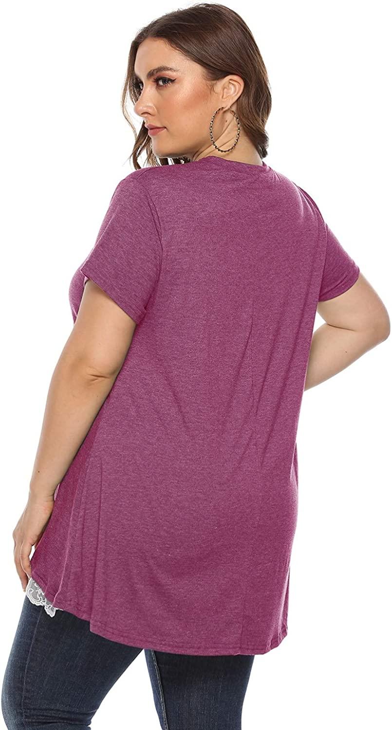 DKKK Womens Round Neck Short Sleeve Color Block Casual Loose Tunic Shirt Blouse Top
