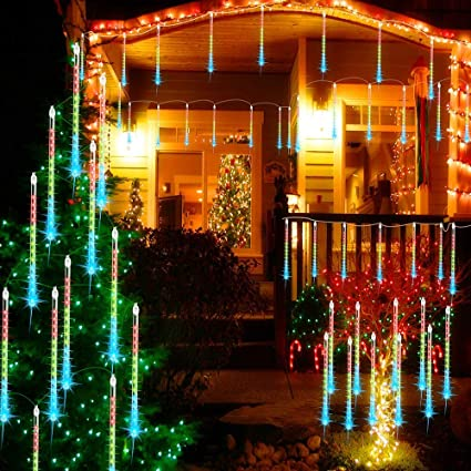 Christmas Outdoor Decorations.Terresa Led Meteor Shower Rain Lights 11 8 Inch 8 Tube Waterproof Icicle Tree Lights For Xmas Christmas Outdoor Decorations Snowfall Lights For
