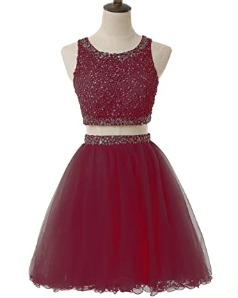 Pretygirl Womens Two Piece Beaded Crystal Short Prom Dresses Sequined Prom Homecoming Gown Rhinestone(US