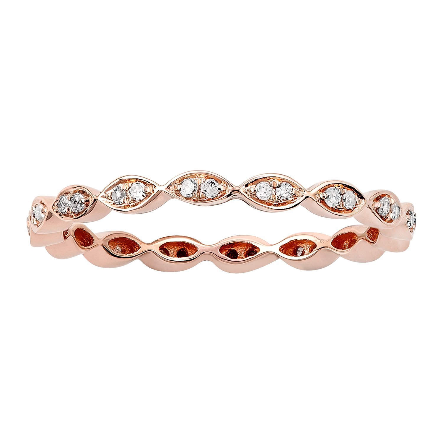 10k Rose Gold Stackable Eternity Diamond Wedding Band (1/4 cttw, I-J Color, I2-I3 Clarity)