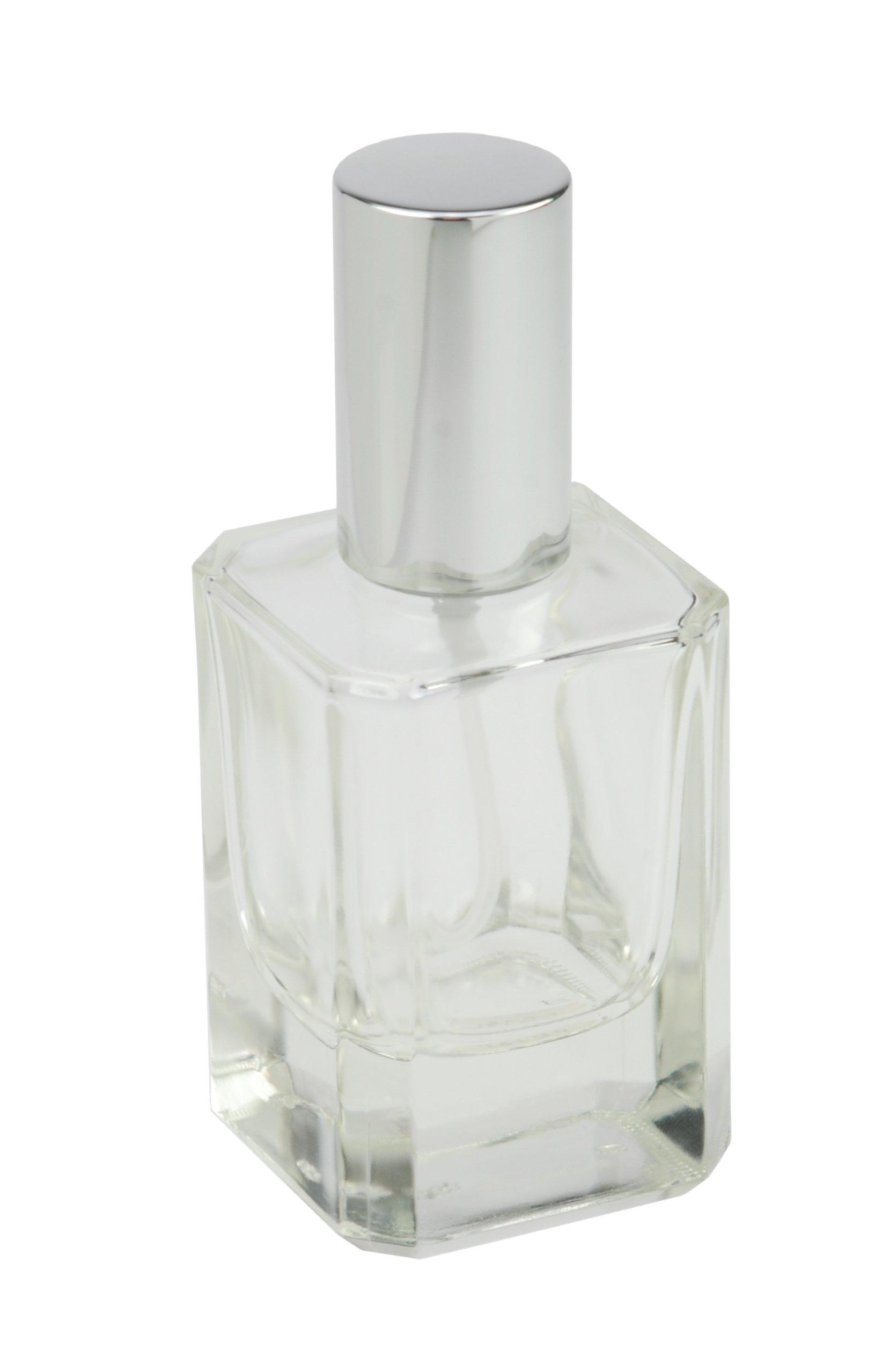Détails sur Flacon de parfum carré avec pompe, vaporisateur et bouchon Argenté 50 ml