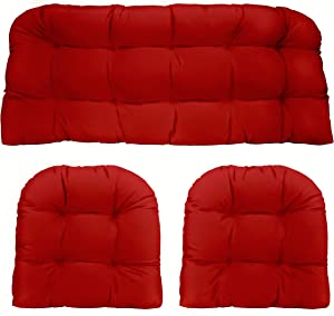 "RSH Décor Indoor Outdoor 3 Piece Tufted Wicker Settee Cushions 1 Loveseat & 2 U-Shape Weather Resistant ~ Choose Color (Red Poly, 2-19""x19"" 1-41""x19"")"