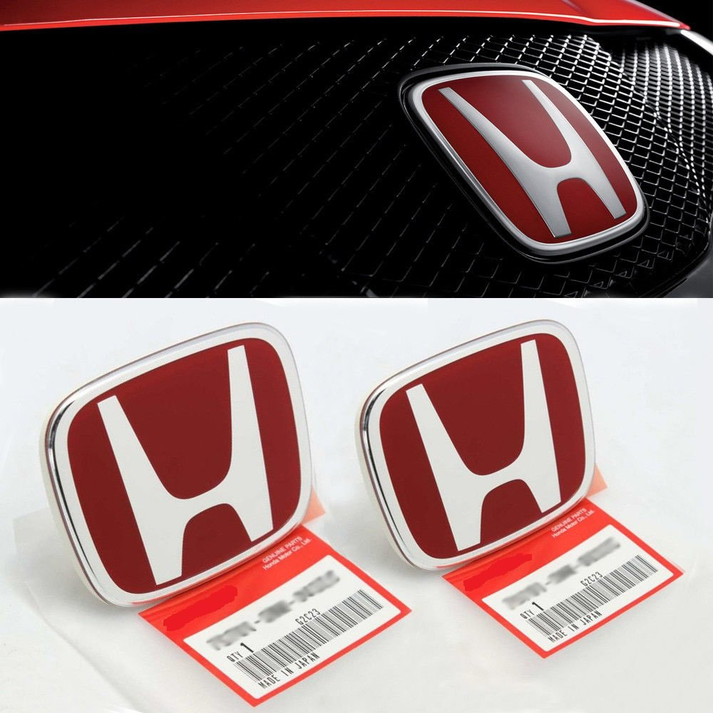 3PCS JDM RED FRONT REAR STEERING EMBLEM BADGE FOR ACCORD SEDAN 2008-2017 JC RACING