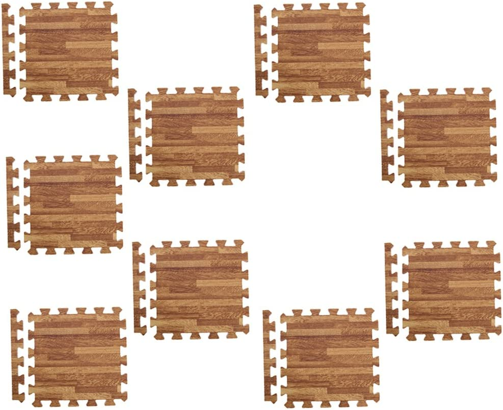 Dark Wood Grain Set of 9Pieces Interlocking Floor Tiles Wood Effect Soft Foam Mats Kids Play//Garage//Gym Protective Flooring