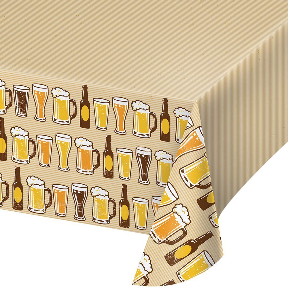 Creative Converting Border Print Plastic Tablecover, 54 x 102, Cheers/Beers (3-Pack) by Creative Converting