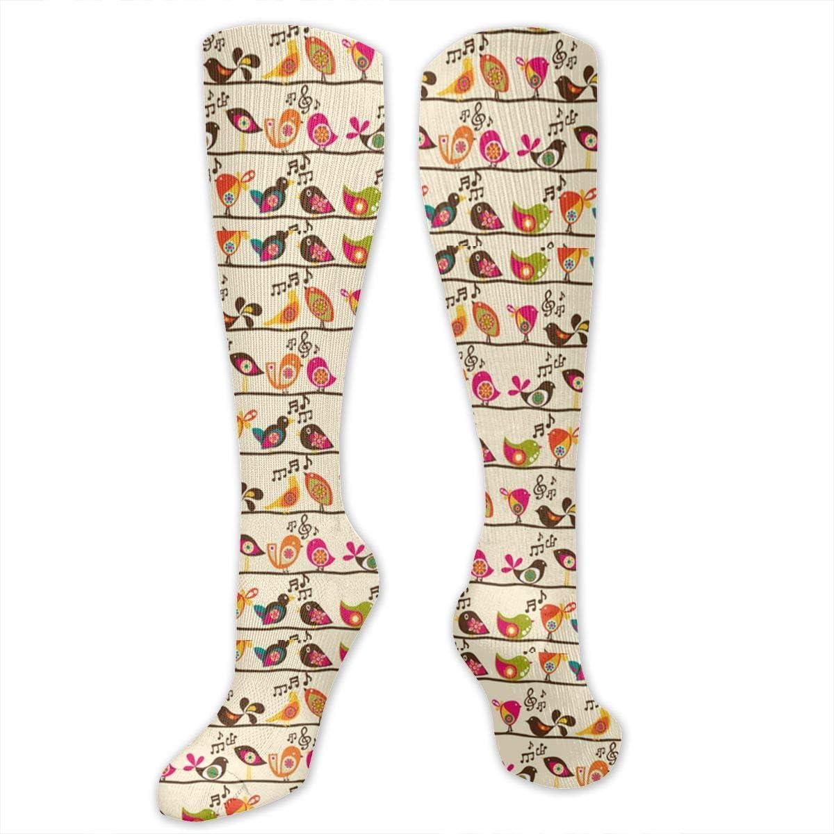 Chanwazibibiliu Singing Birds Mens Colorful Dress Socks Funky Men Multicolored Pattern Fashionable Fun Crew Cotton Socks