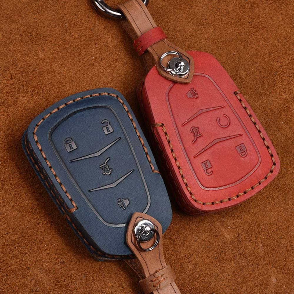 XITER For CADILLAC Key Fob Cover,Keyless Entry Remote Cover Genuine Leather Key Fob Case Compatible with Cadillac ESV Escalade GTS CTS STS XTS SRX ATS XT5 CT6 BROWN