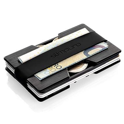 Tarjetero de Aluminio con Monedero y Clip para Billetes – Extra Fino - | Protección RFID y NFC | Tarjeta Multiusos | Más Fino que cualquier Cartera