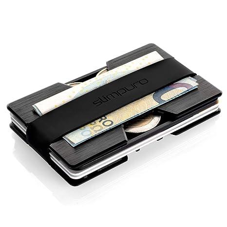 metà fuori 9172c b99b4 slimpuro Portatessere e Porta Carte di Credito Piatto in Alluminio,  Portabanconote e Monete | anti RFID NFC | Portafogli Sottile