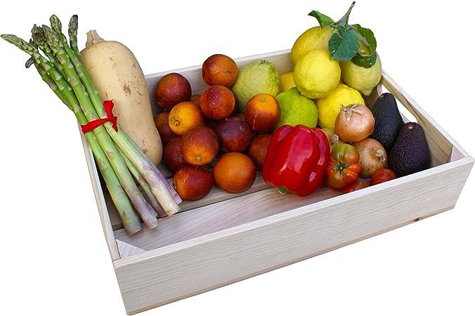 Liza Line Bandeja de Madera con Asas, Estilo Caja Vintage. Desayuno, Snack, Bandeja para Servir Frutas y Verduras, de Pino Macizo - 50 x 35 x 10,5 cm (Pino Natural): Amazon.es: Hogar