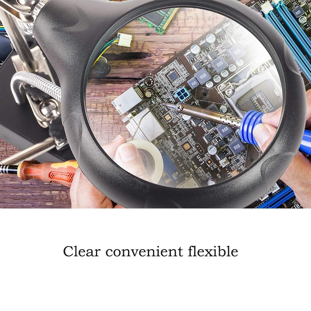 Hobbies and Crafts Repair Assembly Modeling Magnifier Desktop Magnifying Glass Hands Free Stand Helping Hand Station -5X 8X 10X 5 LED Light with Clamp and Alligator Clips for Soldering