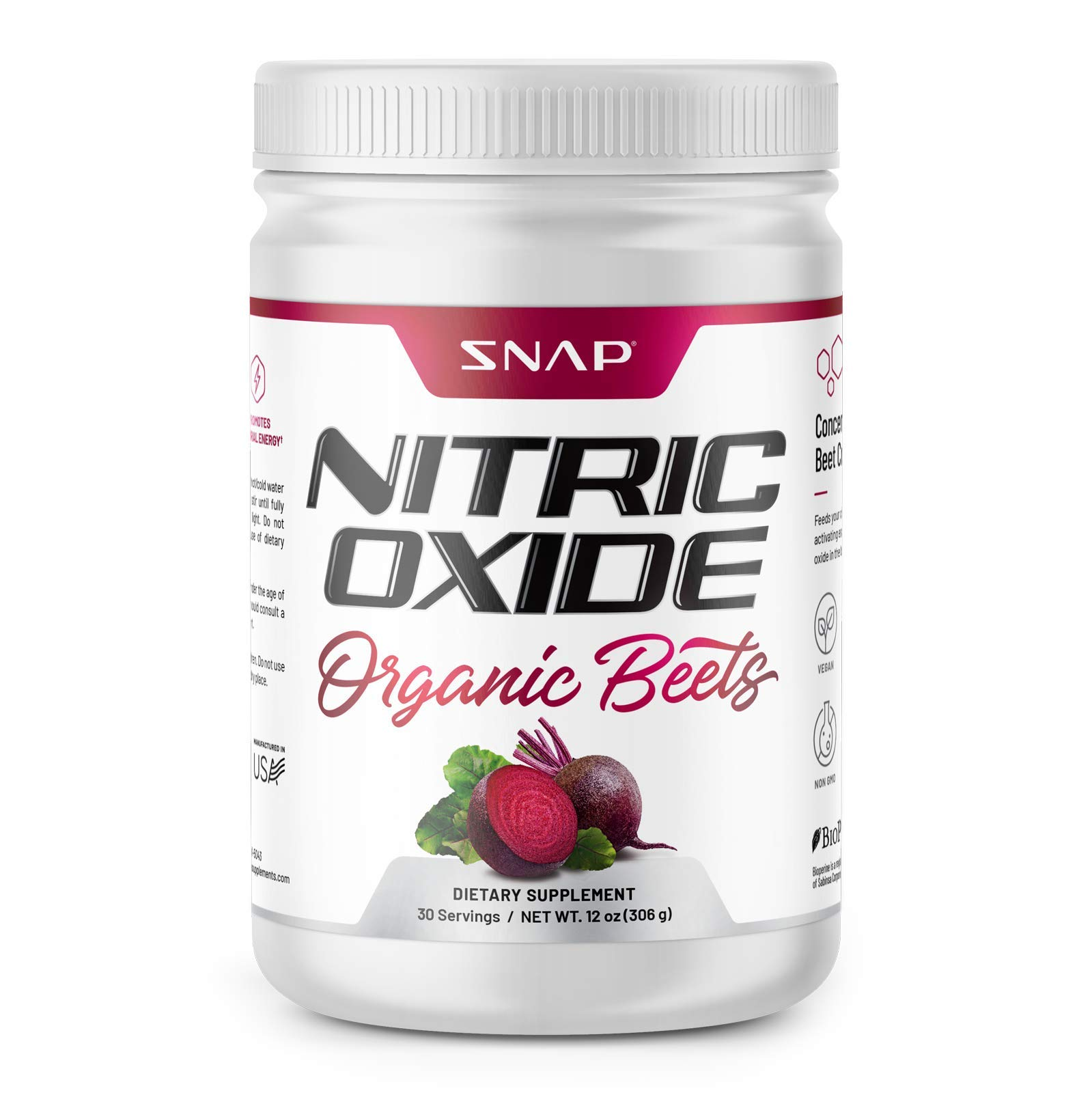 Beet Juice Powder (Organic) Nitric Oxide by Snap Supplements - Blood Flow and Circulation Superfood, Muscle & Heart Health - BCAAs. L Arginine, L Citrulline - 306 Grams!
