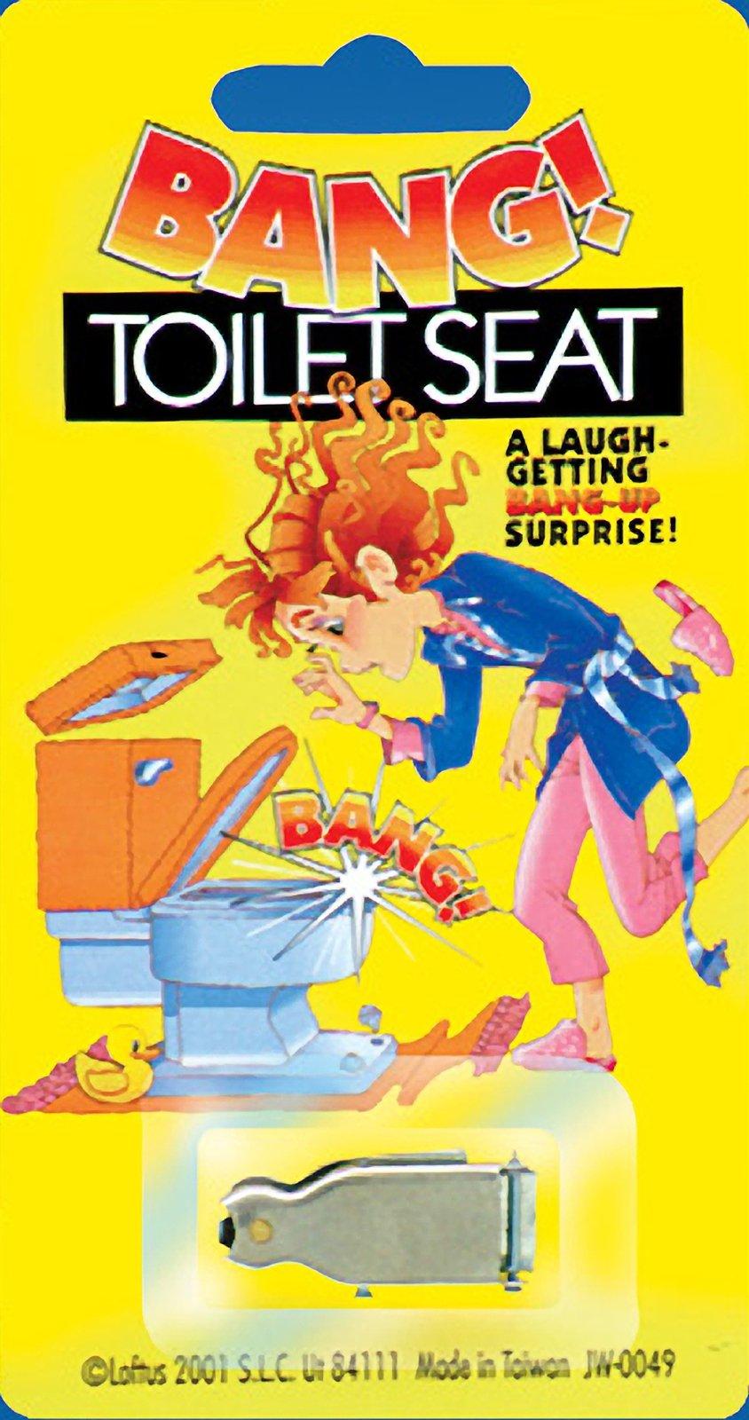 """Joker Big Bang! Funny Popping Toilet Seat 1.25"""" Prank, Silver"""