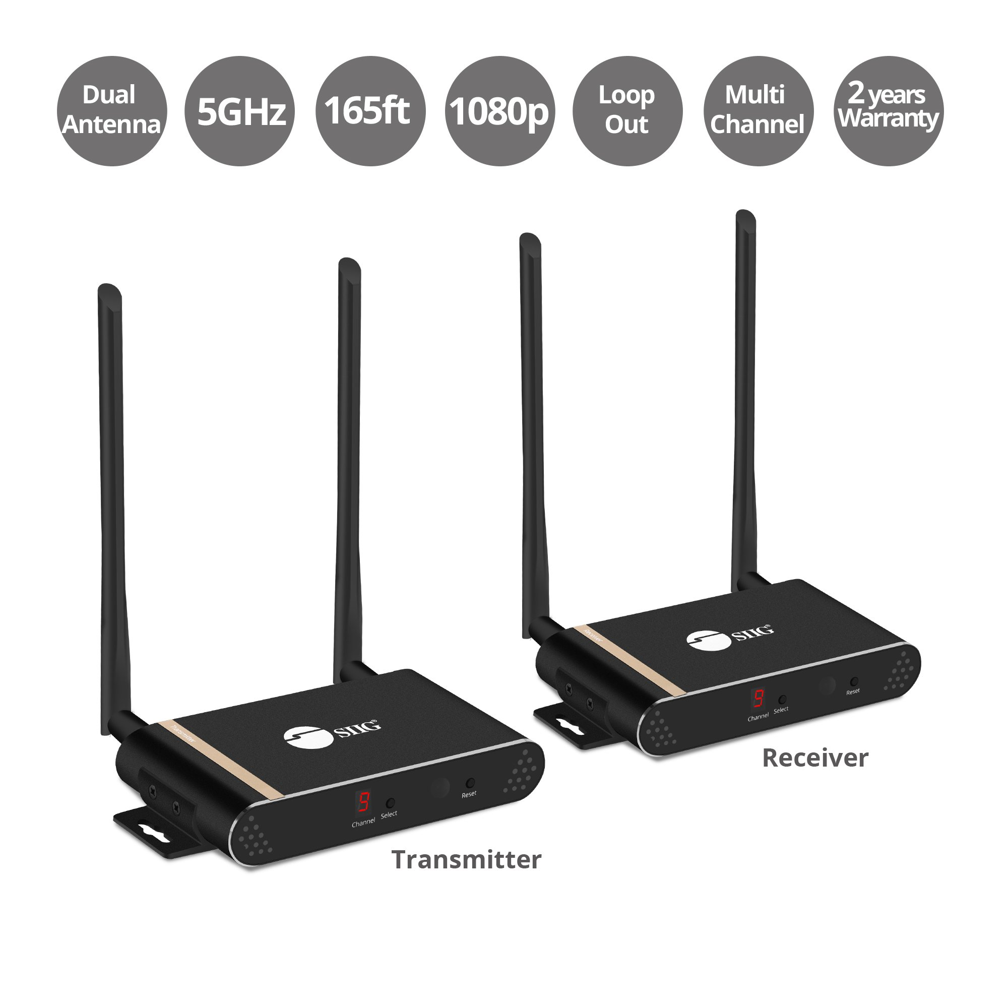 SIIG Dual Antenna Wireless Multi-Channel Expandable HDMI Extender with Loop-out Kit - 165ft/50m - up to 2-Transmitters x 2 Receivers Matrix - 10 Channels - up to 1080p Full HD with IR & Remote Control by SIIG