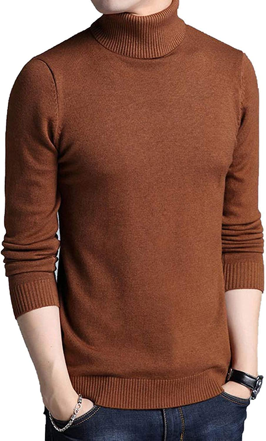 Friendshiy 2019 New Winter Mens Sweater Mens Turtleneck Solid Color Casual Sweater,Medium,Coffee