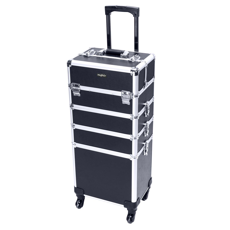 Mefeir 4-in-1 Rolling Makeup Train Case,4 Removable Travel Wheels Lift Handle Lockable Keys,Cosmetic Trolley Beauty Artist Organizer (Black)