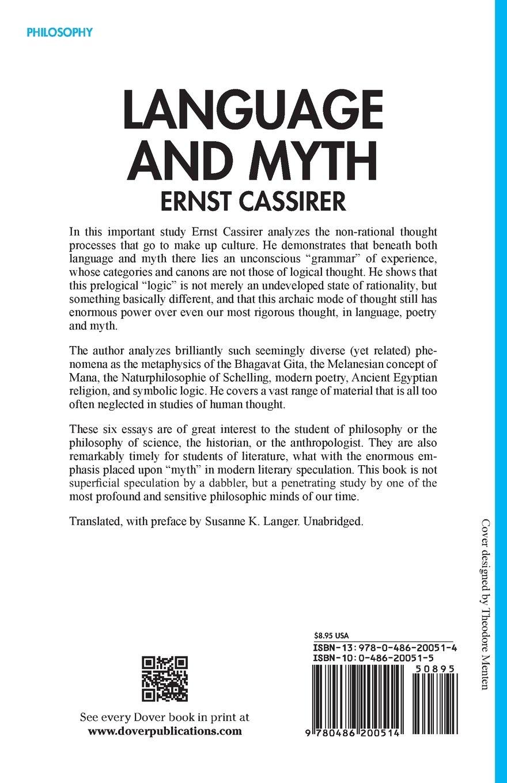 Language And Myth Ernst Cassirer 9780486200514 Amazon Books