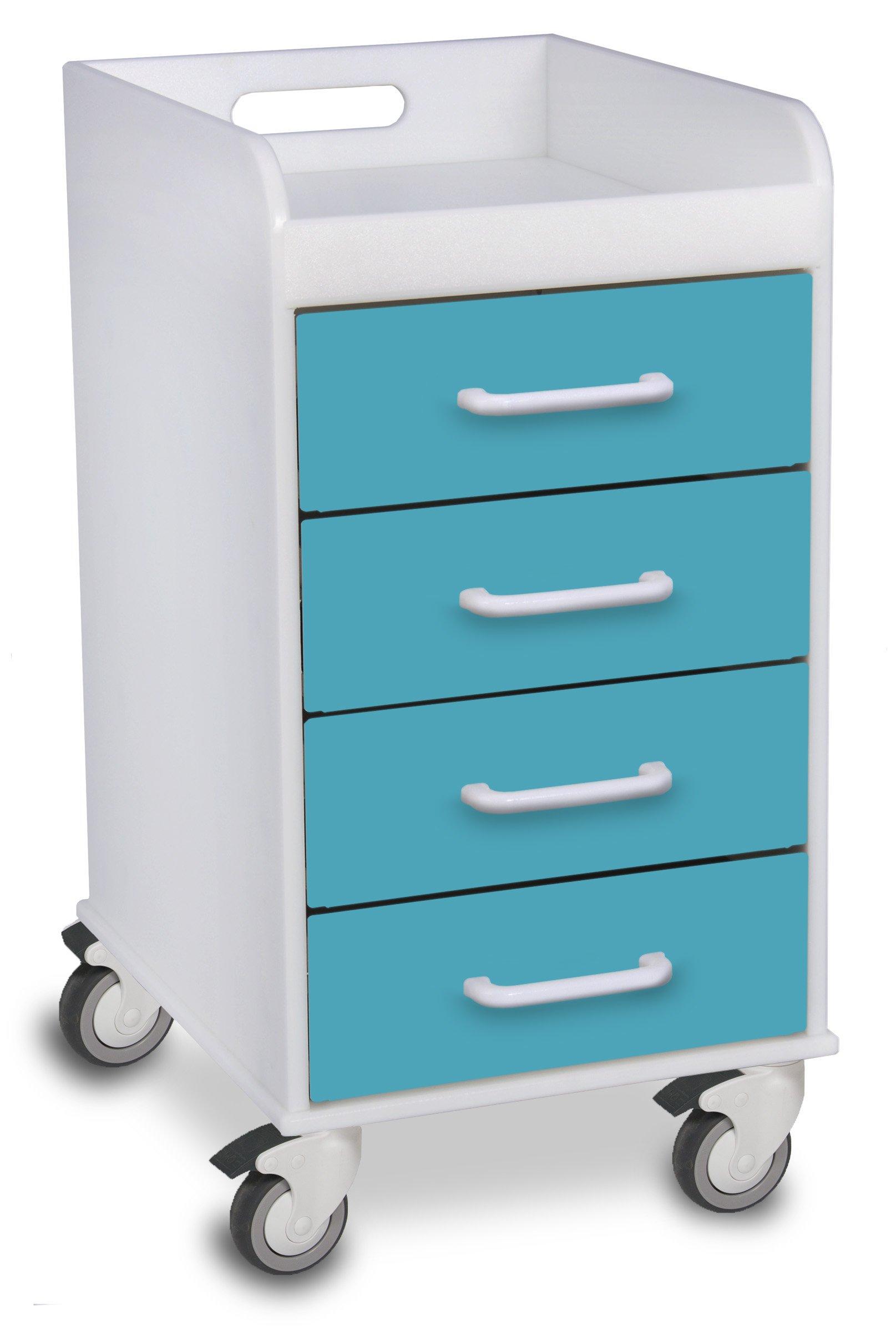 TrippNT 51086 Polyethylene Compact Locking Cart, 14'' Width x 27'' Height x 19'' Depth, 4 Drawers, Bahamas Sea