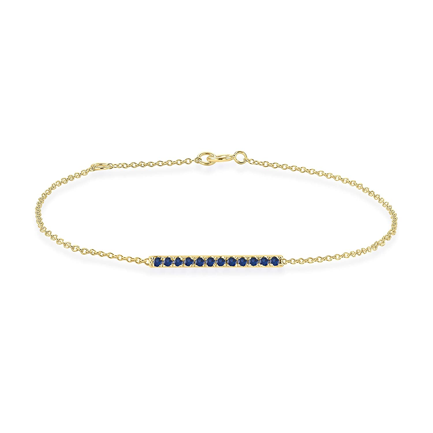 Rare Earth Diamond Jewellery Round Cut Blue Sapphire Horizontal Bar Bracelet in 14K Gold Over Sterling Silver BR000537A-ALL-BS-925-R-6