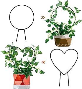 MIXXIDEA Garden Trellis for Climbing Plants Trellis Pack of 2 (Heart+Round)