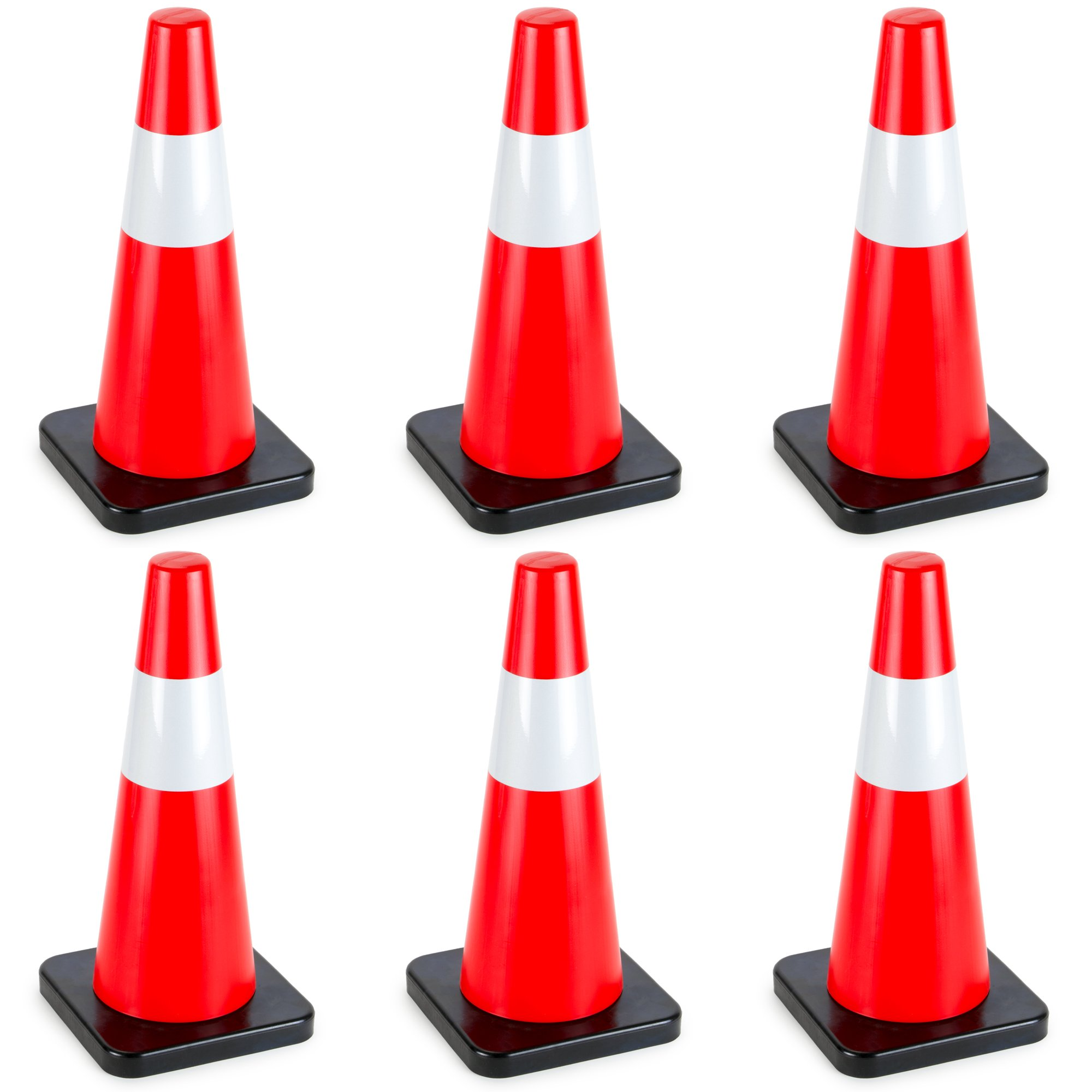 18'' High Hat Cones in Fluorescent Orange with Reflective Sleeve and Black Base for Indoor/Outdoor Traffic Work Area Safety Marker & Agility Sport Training by Bolthead Industrial (6-pack)