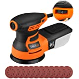 """5"""" Random Orbit Sander Tacklife 6 Variable Speed 350W/13000 RPM 125mm Orbital Sander with 12Pcs Sandpaper, High Performance Dust Collection System, Ideal for DIY & Home Decoration/PRS01A"""