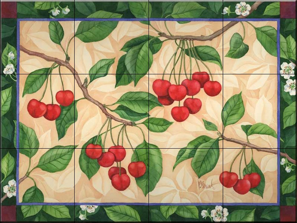 Ceramic Tile Mural - Windsor Cherry - by Paul Brent - Kitchen backsplash / Bathroom shower