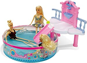 Glam Pool Playset with 11.5 Inch Beach Doll, Doll Accessories, Toys for Pool, Bath, or Lake, Bath Toys for Girls, Water Toys