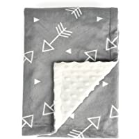 "Boritar Soft Baby Blanket with Minky Raised Dotted, Grey Arrow 30""x40"""