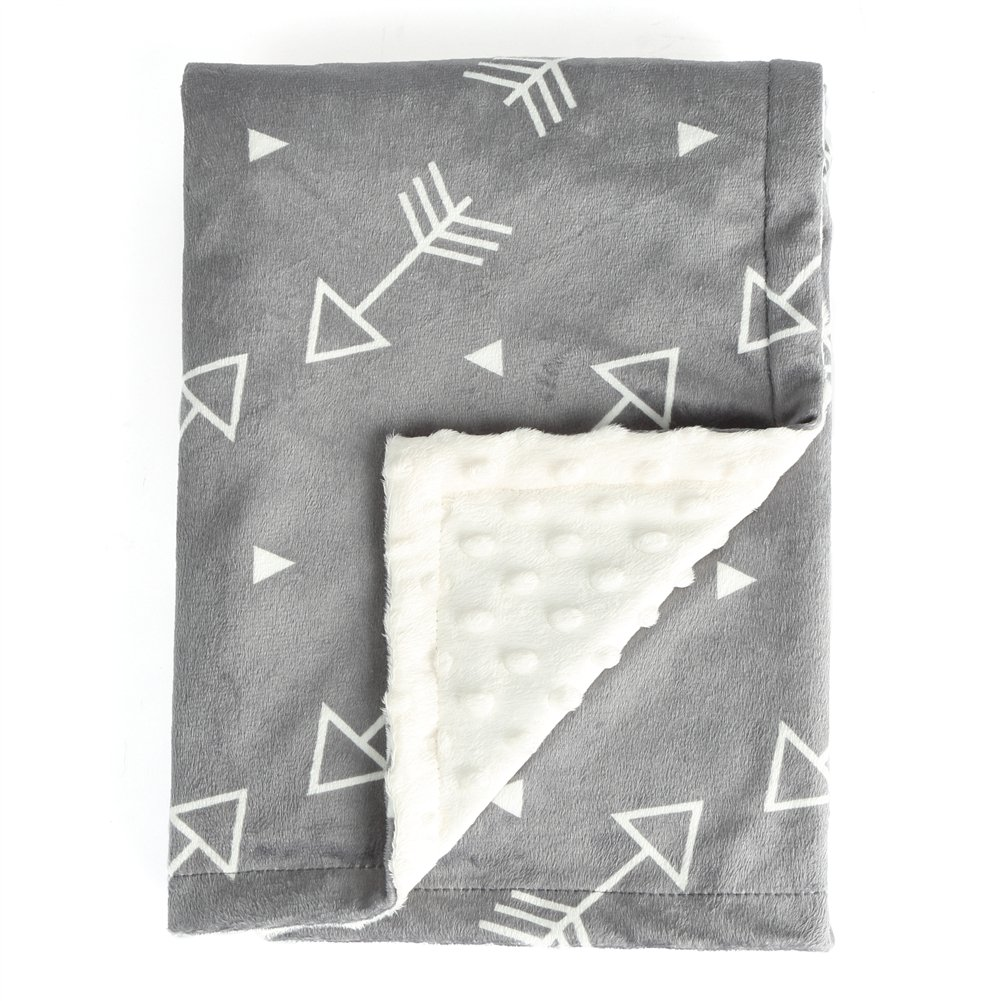 BORITAR Baby Blanket Super Soft Minky with Double Layer Dotted Backing, Little Grey Arrows Printed 30 x 40 Inch, Receiving Blankets by BORITAR