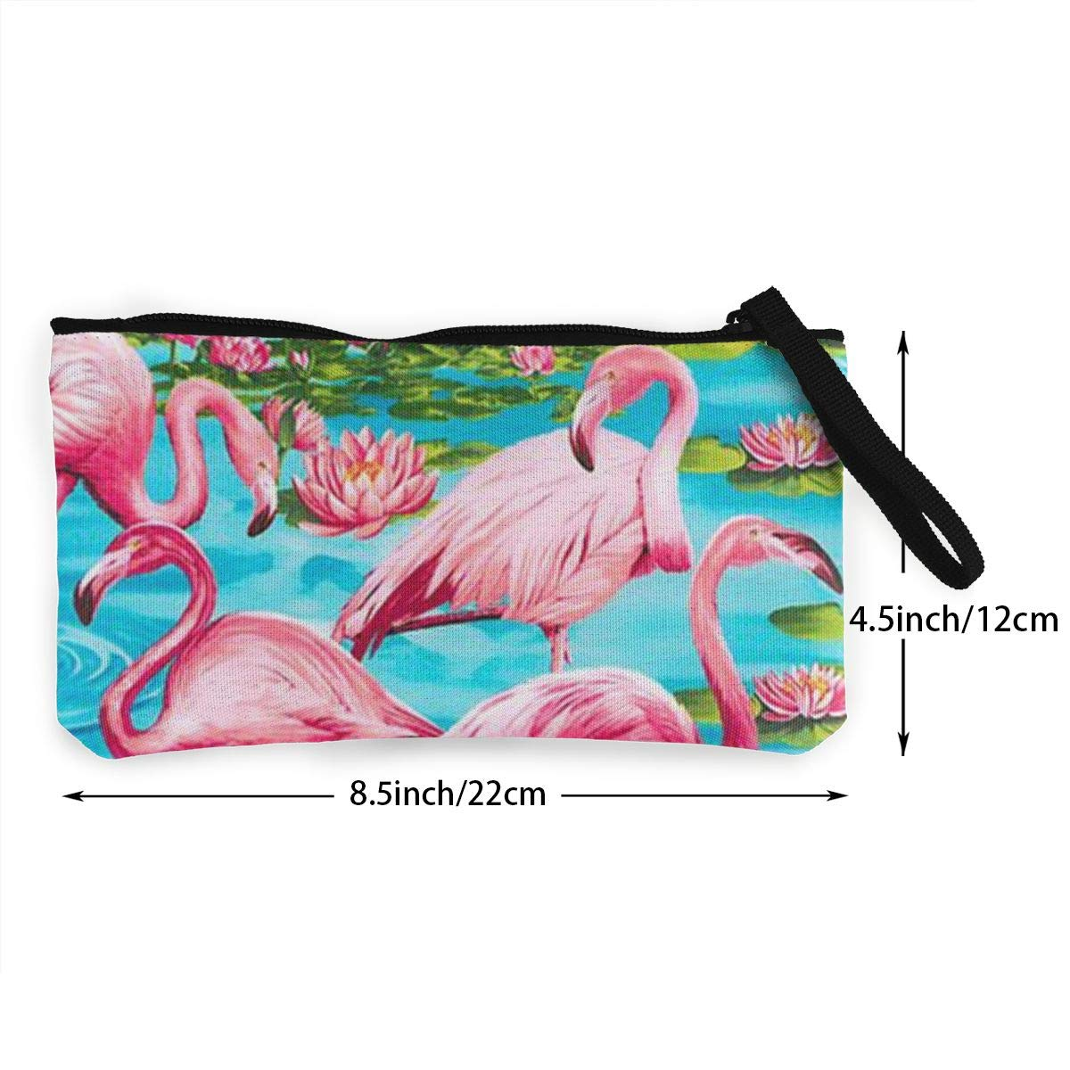 Coin Pouch Lotus Leaf Canvas Coin Purse Cellphone Card Bag With Handle And Zipper
