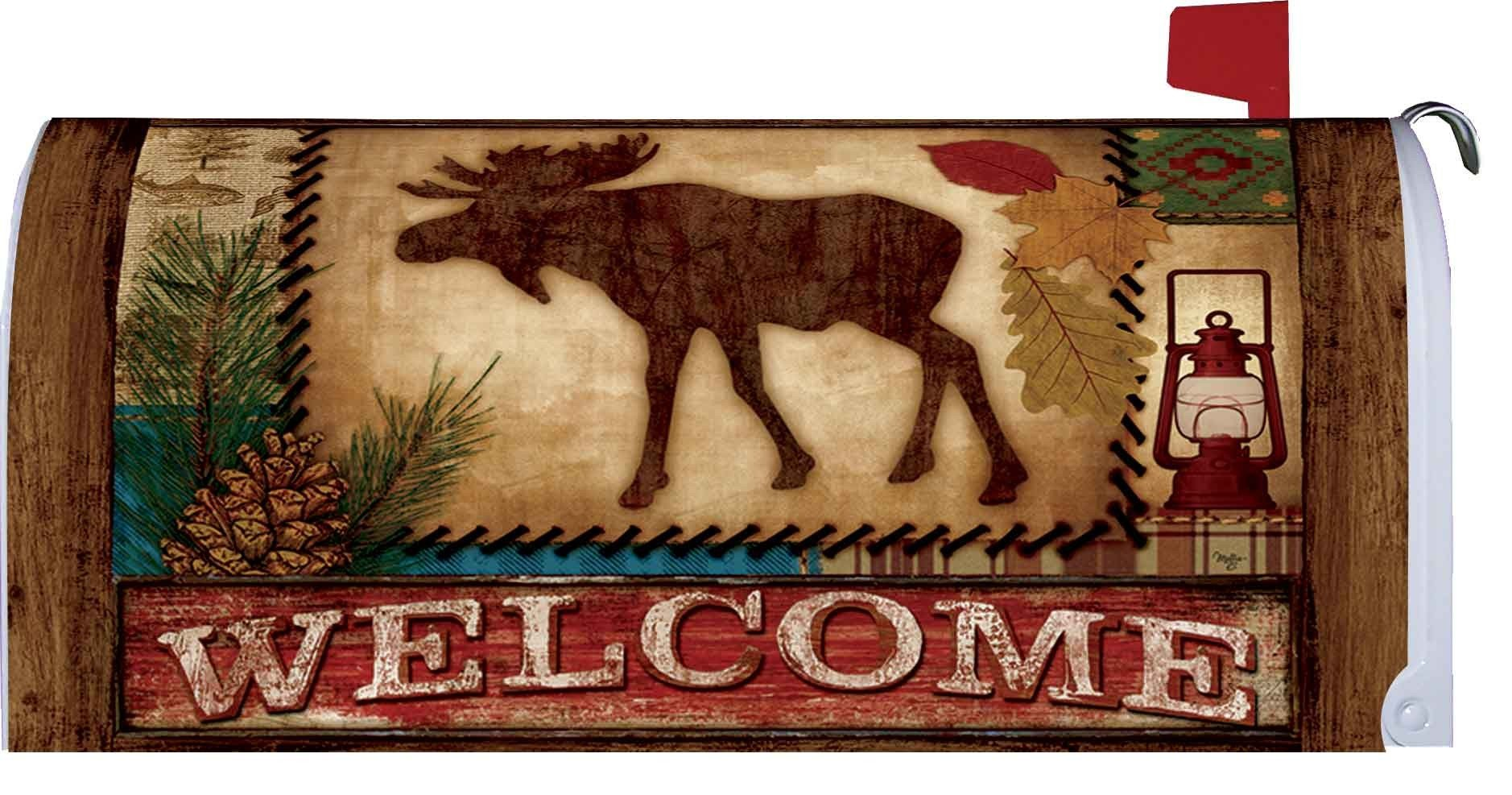 Home & Country Living Magnetic Mailbox Cover Wrap (Welcome Moose)