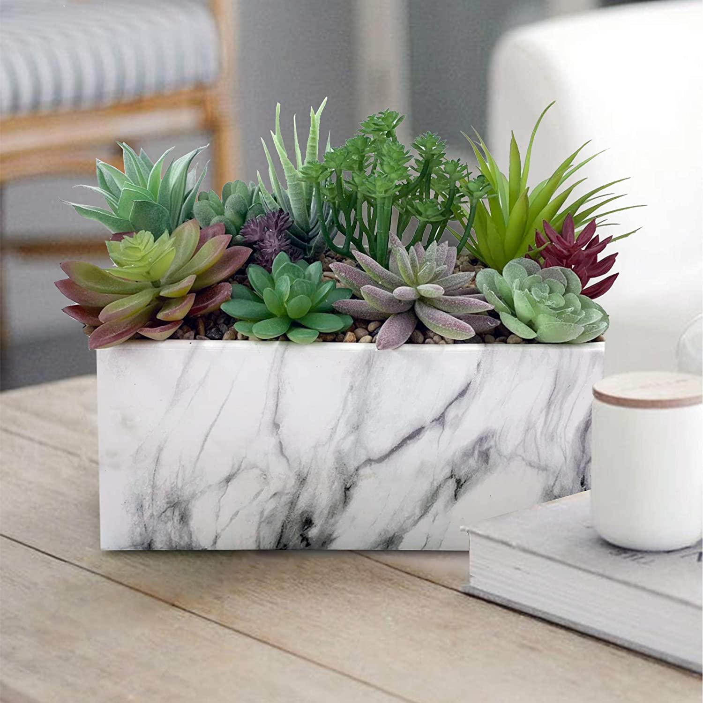 GreenBoxx Ceramic-Marble Artificial Succulent Planter Arrangement Garden 11 Pcs - Faux Potted Succulents Artificial Plant Fake Plants for Home Table, Window and Wedding Décor