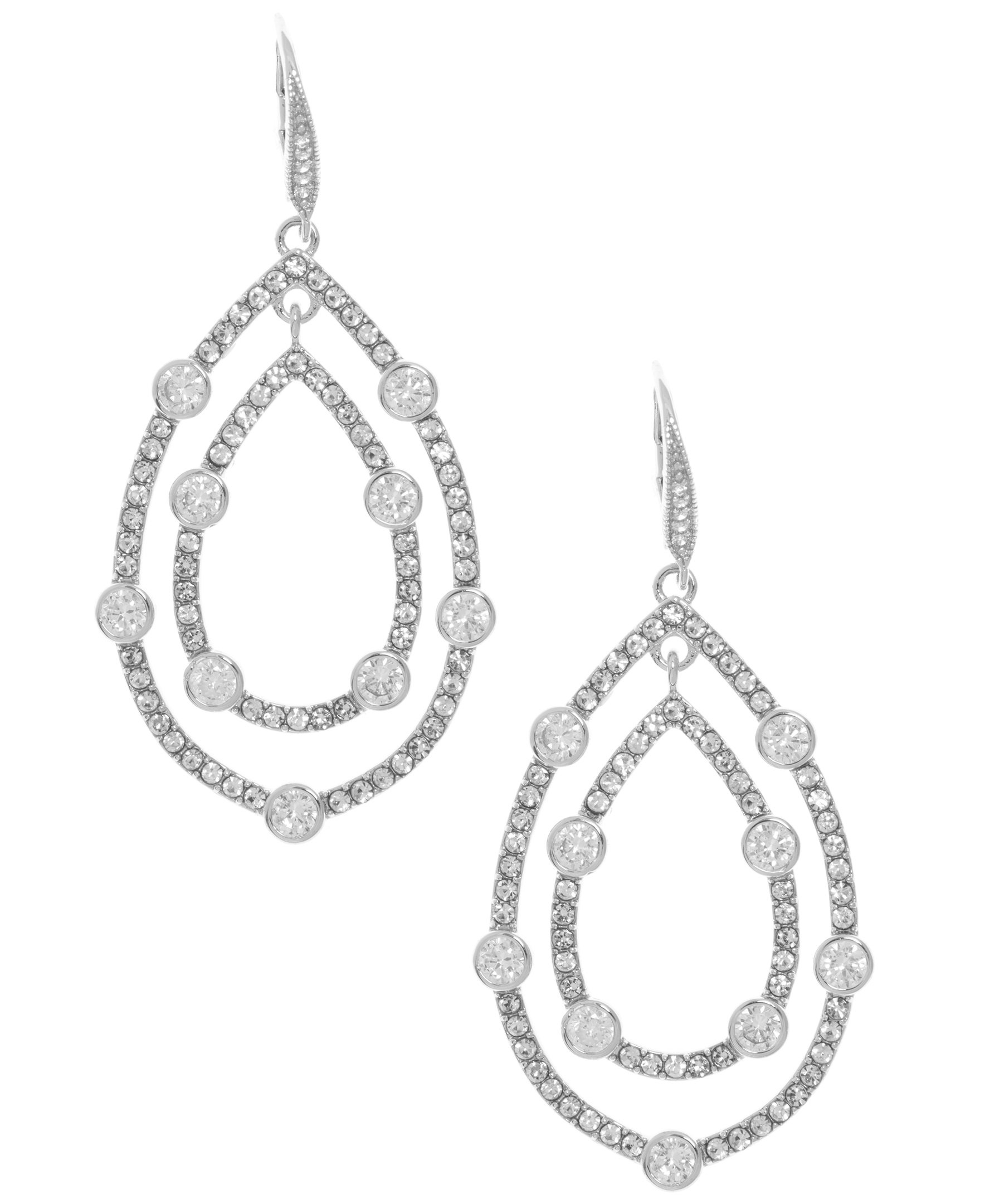 Anne Klein Women's Silver Tone Pave Orbital Drop Earrings, Silver Tone, One Size