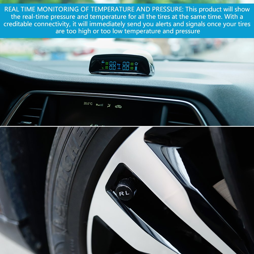 TYDO Solar Powered TPMS Wireless Tire Pressure Monitoring System 4 Sensors DIY Tire Gauge With Auto Alarm System Real-time LED Displays for RV Trailer, External Sensor by TYDO (Image #6)