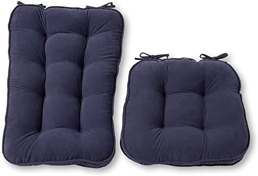 Greendale Home Fashions Jumbo Rocking Chair Cushion Set Hyatt Fabric, Denim