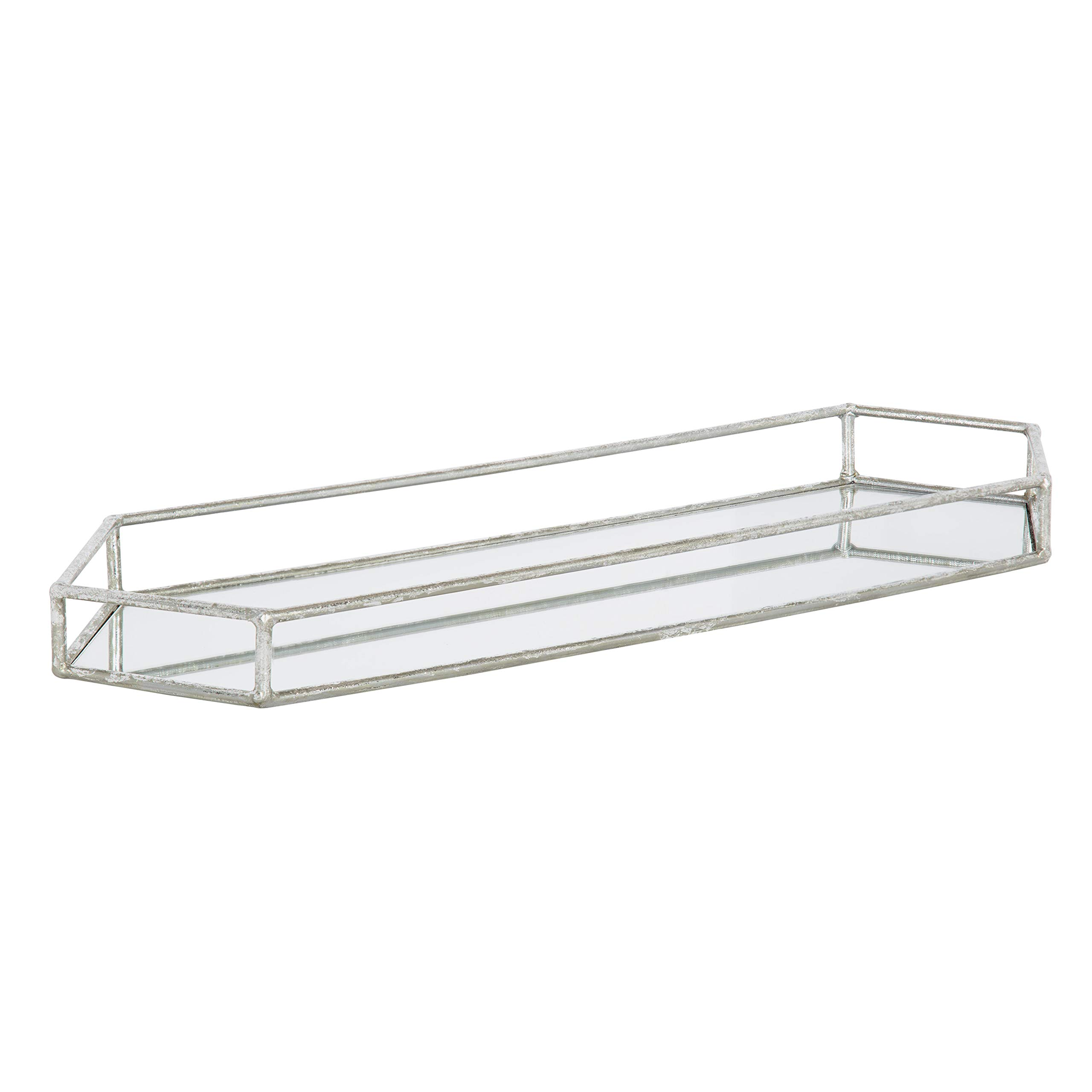 Kate and Laurel Felicia Trough Mirrored Tray, 26x8, Silver by Kate and Laurel