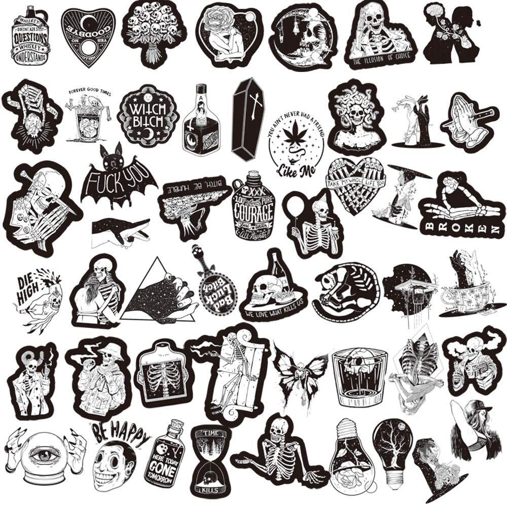 Trendy Stickers for Teens Kids Girls Boys Gothic Stickers Cool Stickers 200PCS Waterproof Vinyl Stickers for Laptop Water Bottles Guitar Computer Phone Travel Case
