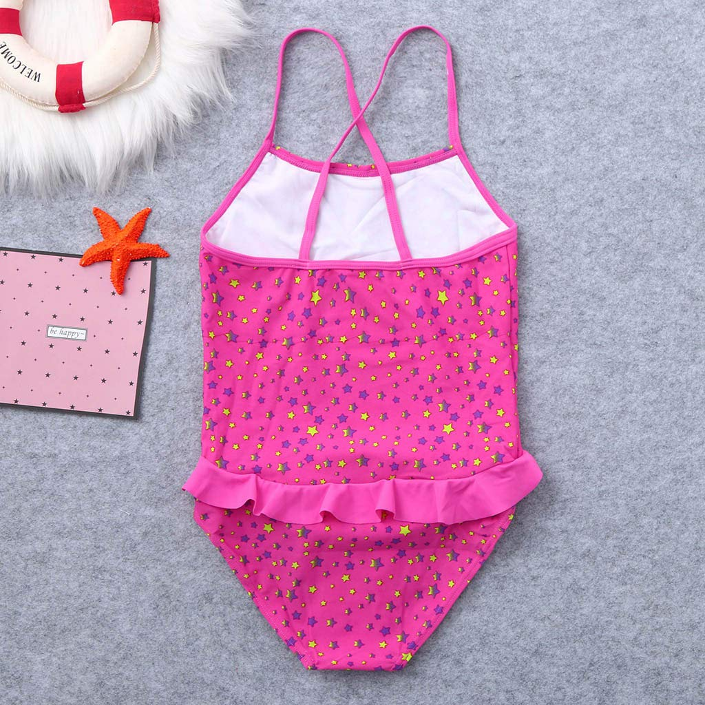 Boomboom 2019 Kids Girls Ruffles Star Printed One Piece Swimsuits Bathing Suits