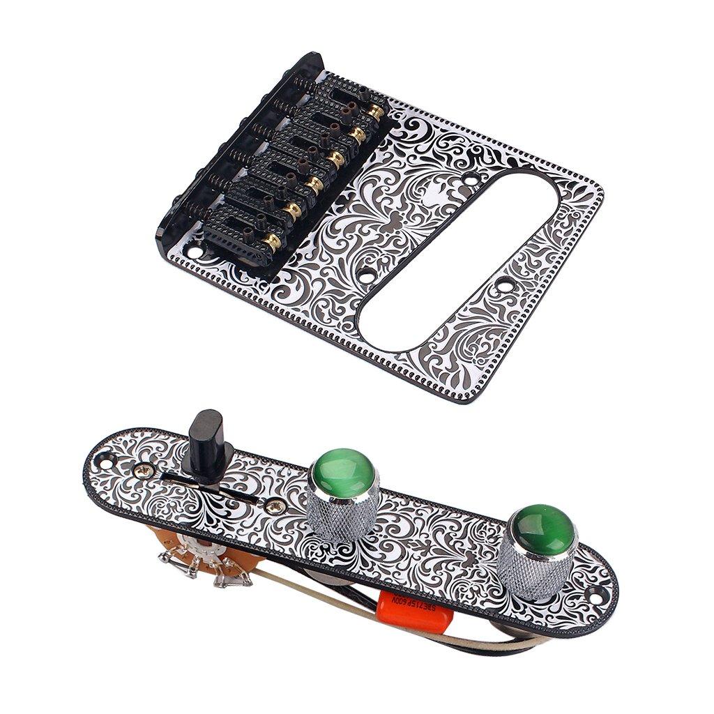 MagiDeal 1 Set Loaded Prewired Control Plate Harness Switch Knobs&Tremolo Bridge for Tele TL Guitar - Black