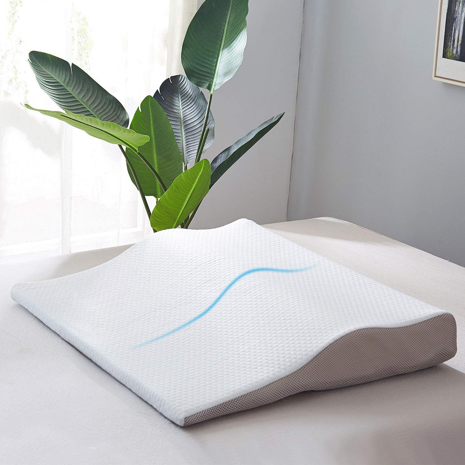 JOLLYVOGUE Bed Wedge Pillow for Acid Reflux-Adjustable Height Sleeping Wedge Memory Foam Pillow Therapeutic Pillow with Zippered Cover, Designed for Back & Neck Pain, Better Breathing & Circulation by JOLLYVOGUE