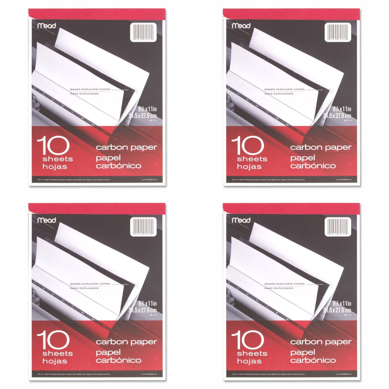 Meadwestvaco 40112 10 Count 8.5'' X 11'' Carbon Paper Tablet