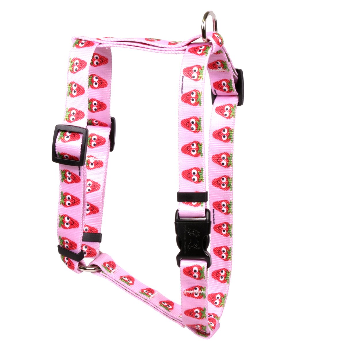 Yellow Dog Design Sweet Strawberries Roman Style Dog Harness-X-Large-1'' and fits Chest 28 to 36''