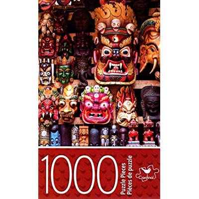 Cardinal Industries Colorful Wooden Masks - 1000 Piece Jigsaw Puzzle - p007: Toys & Games