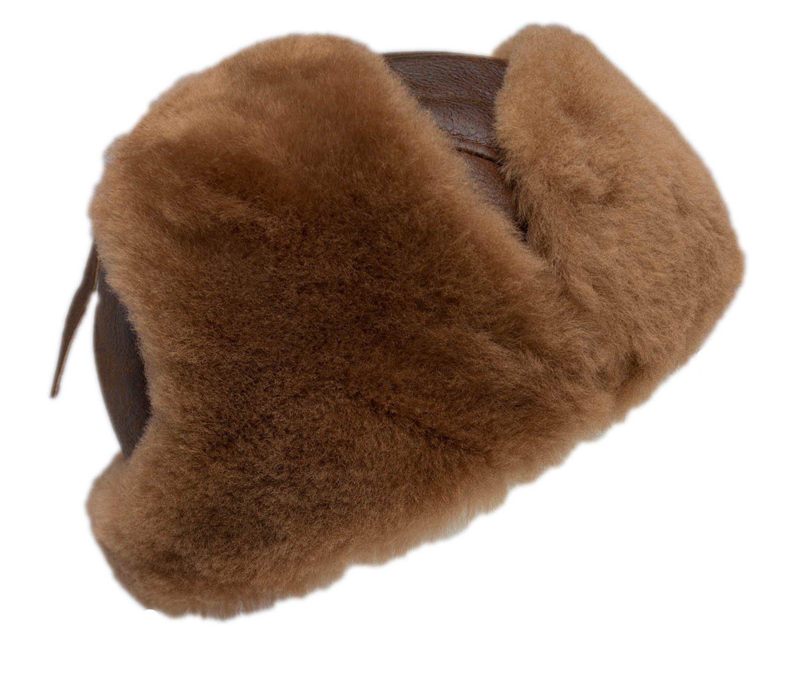 buyfurhat Women's Trapper Ushanka Aviator Russian Sheepskin Hat (XL, Peach Brown) by buyfurhat (Image #2)